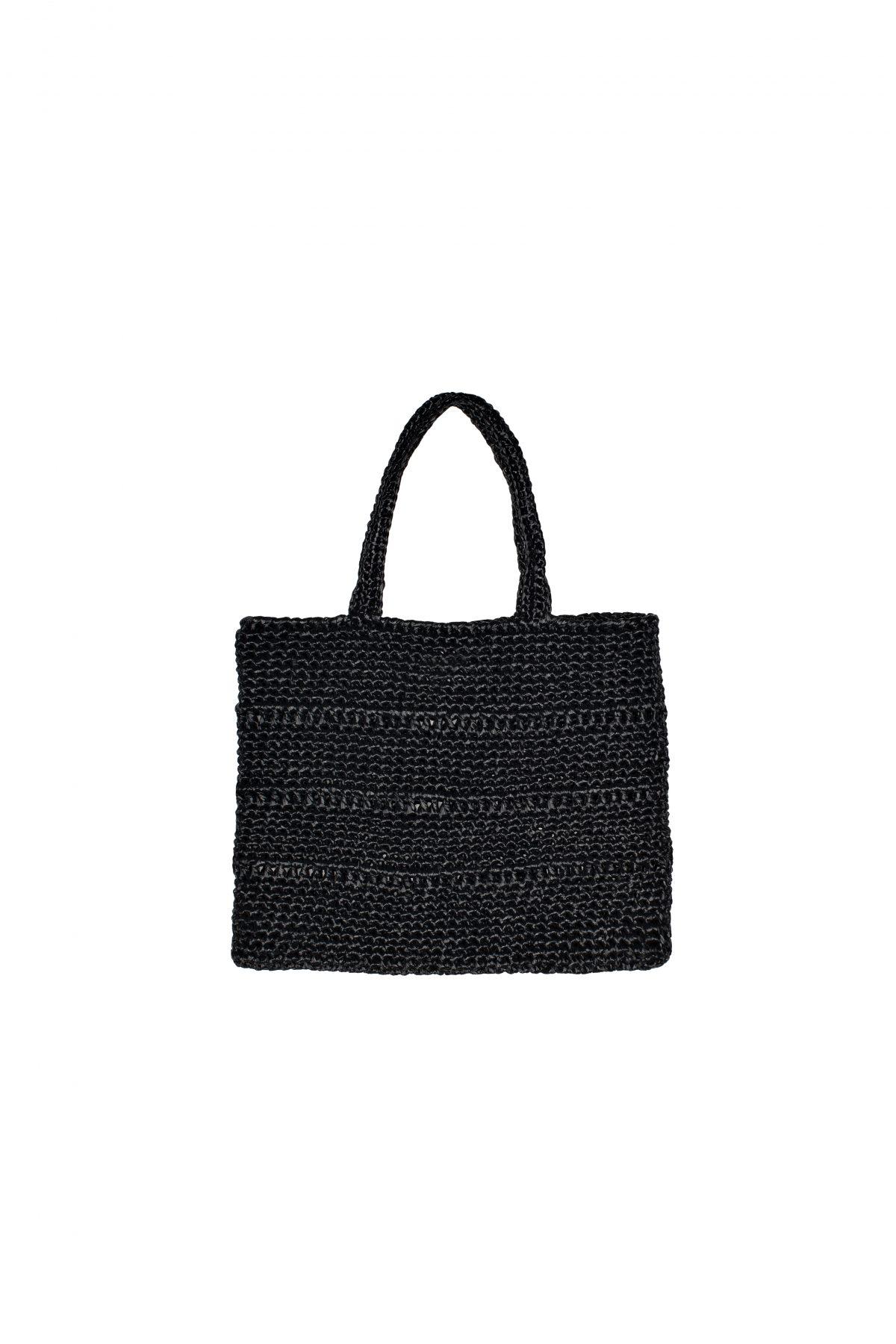 borsa rafia con manici lunghi nera
