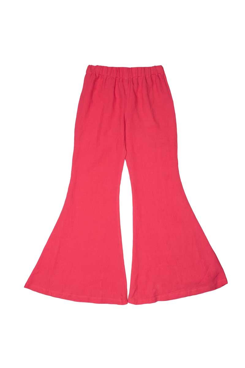 Pantalone con ampia zampa in lino fucsia
